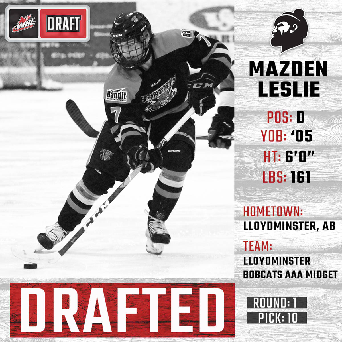Vancouver Giants have used their 10th overall pick in the 2020 WHL Bantam Draft to select 2005-born defenceman Mazden Leslie from Lloydminster.