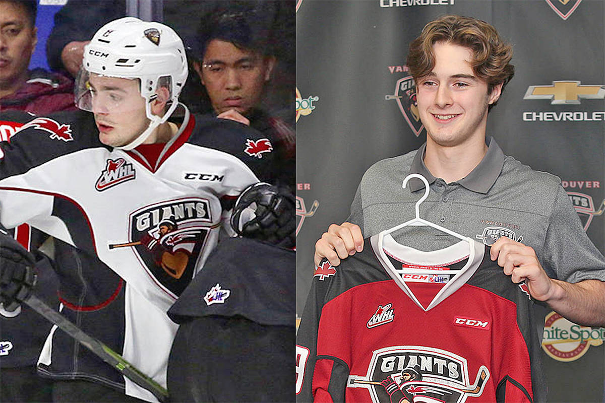 Tristen Nielsen (left) and Cole Shepard each received three individual honours at the 2019-20 Vancouver Giants awards (file)