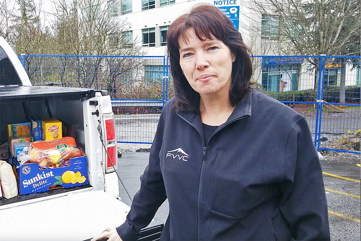 When a campaign by the Fraser Valley Volleyball Club (FVVC) to raise funds for a new ventilator at Langley Memorial Hospital (LMH)came up short, organizers switched tactics and set a differed goal, said club executive director Carol Hofer, seen here delivering meals to LMH (Langley Advance Times file)