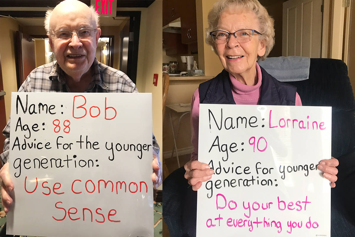 Seniors at Peninsula Retirement Residence are doling out words of wisdom for younger generations as a way to keep busy and stay connected to those in their community. (Contributed photos)