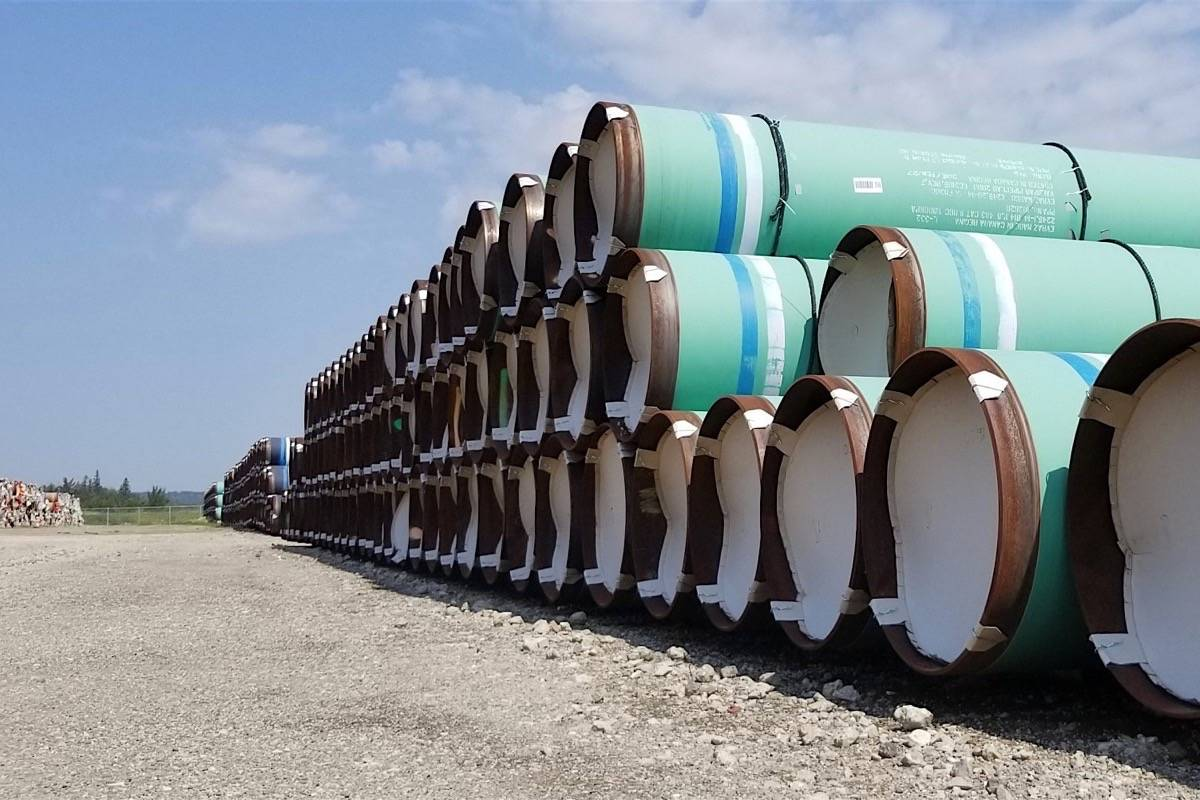 Pipe is staged for twinning the Trans Mountain pipeline, 2019. (Trans Mountain)