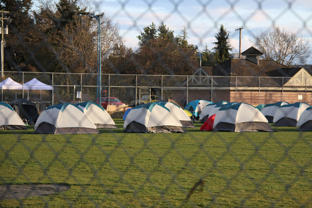 A hundred tents have been spread out over Topaz Park. (Kendra Crighton/News Staff)