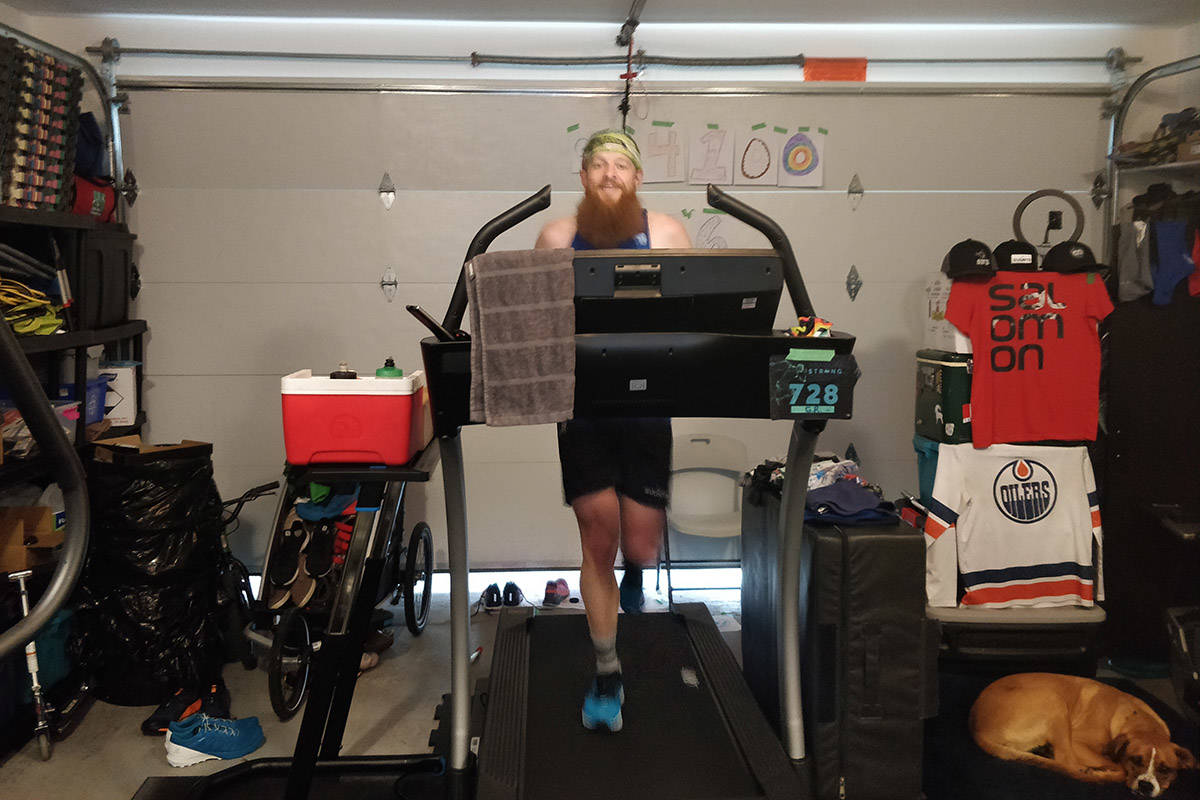 Gary Robbins is running 100 miles uphill on a treadmill today from his own Chilliwack garage. (Linda Barton-Robbins)