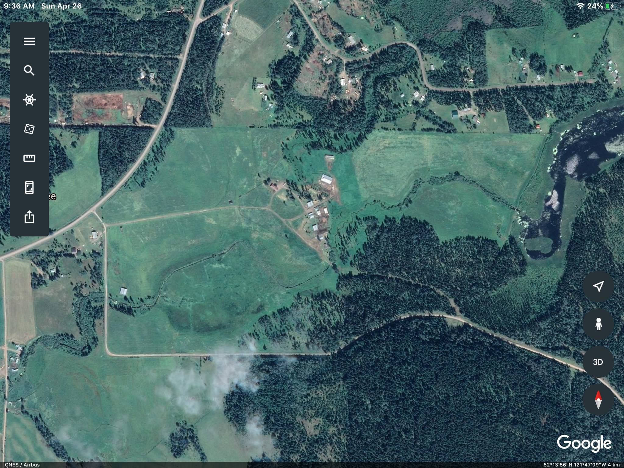 A google earth image of the Rose Lake Ranch.