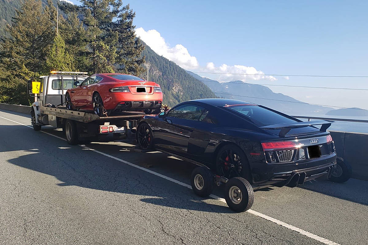 These two vehicles were impounded near Furry Creek by the Squamish RCMP. Another 41 vehicles were impounded in the Lower Mainland over the Easter long weekend. (Squamish RCMP)