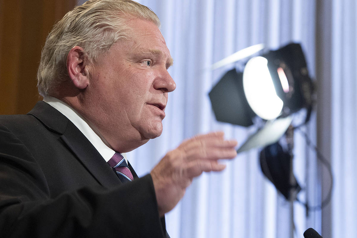 Ontario Premier Doug Ford speaks at the daily briefing at Queen's Park in Toronto, Monday, April 27, 2020. THE CANADIAN PRESS/Frank Gunn