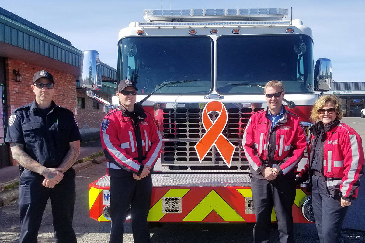 Pictured from left: firefighters Andy Michaluk and Cris Vandendries, fire captain Bruce Holbrook and firefighter Debra Rogers. Photo courtesy Campbell River Fire Rescue