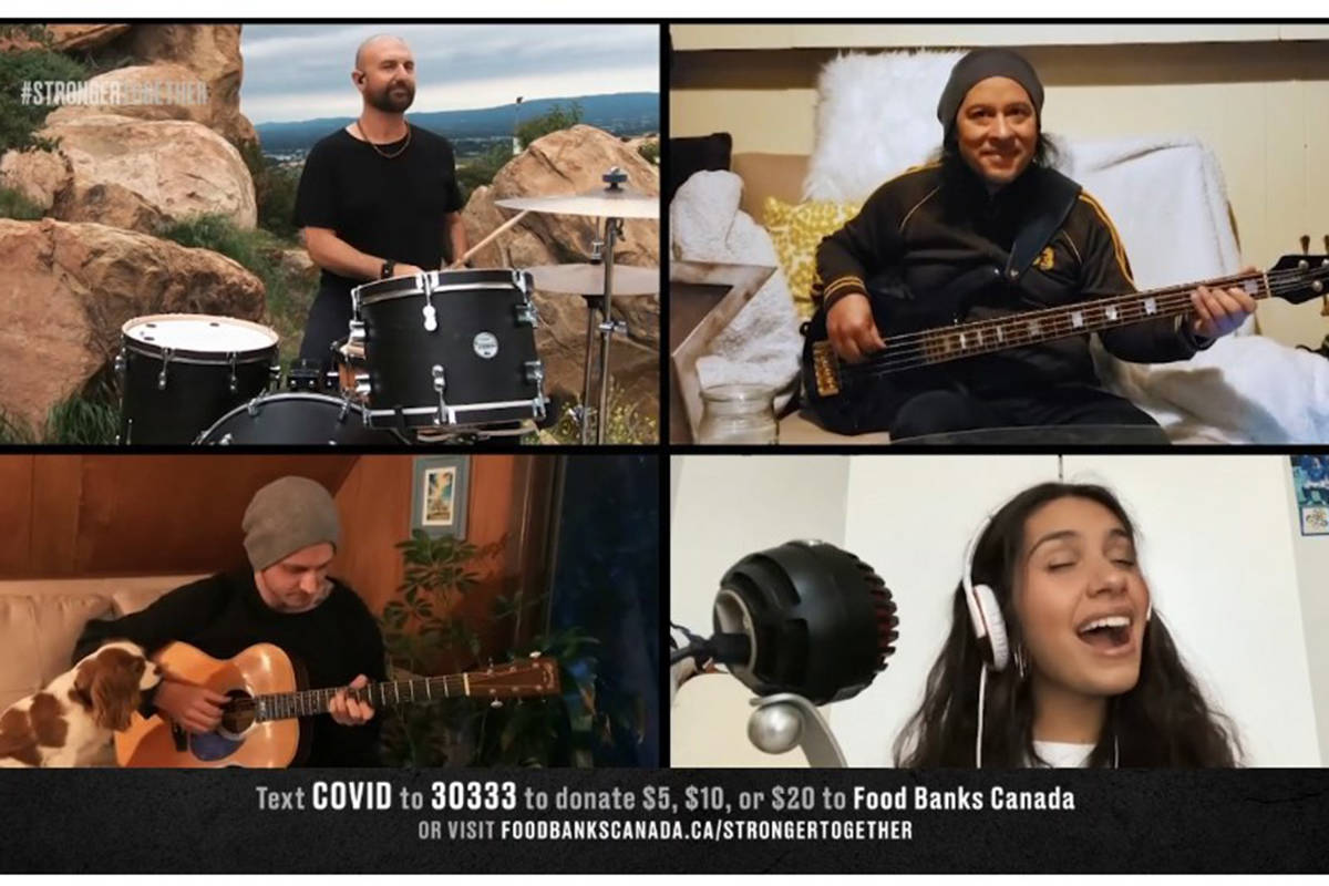 """Alessia Cara and her band perform during """"Stronger Together, Tous Ensemble"""" an online Canadian COVID-19 broadcast benefit event in support of frontline workers and Food Banks Canada in this image taken from video. THE CANADIAN PRESS/HO, Stronger Together, Tous Ensemble"""