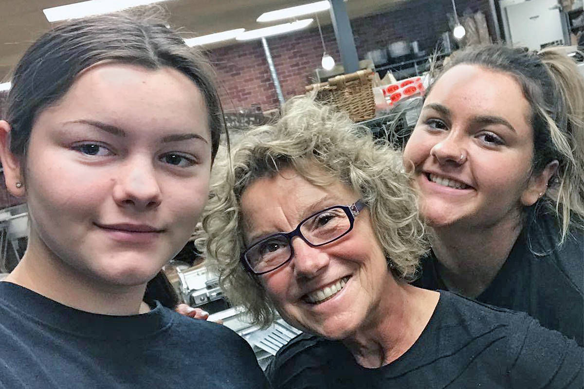 Family members Maya Moreno, Chrissie Clancy and Emma Moreno stepped up when COVID-19 concerns resulted in multiple resignations at the Moreno's Market and Deli in Langley at the beginning of the outbreak. (special to Langley Advance Times)