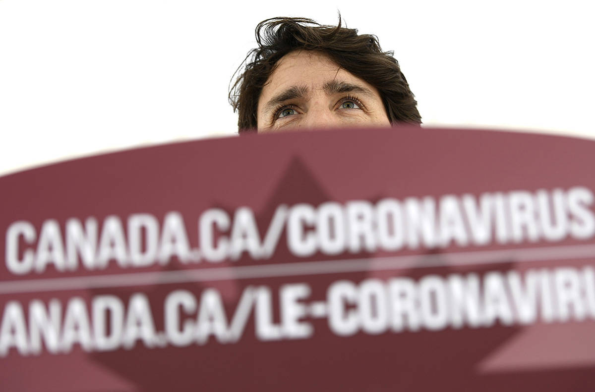 Prime Minister Justin Trudeau speaks during his daily news conference on the COVID-19 pandemic outside his residence at Rideau Cottage in Ottawa, on Saturday, April 25, 2020. THE CANADIAN PRESS/Justin Tang