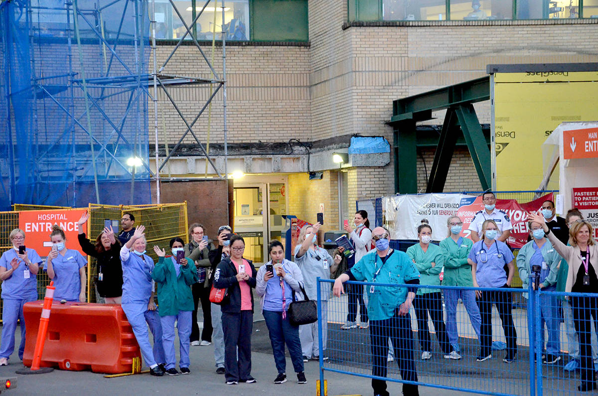 Countless residents turned up to Langley Memorial Hospital to cheer the nurses, health care workers, and first responders in March. (Ryan Uytdewilligen/Langley Advance Times)