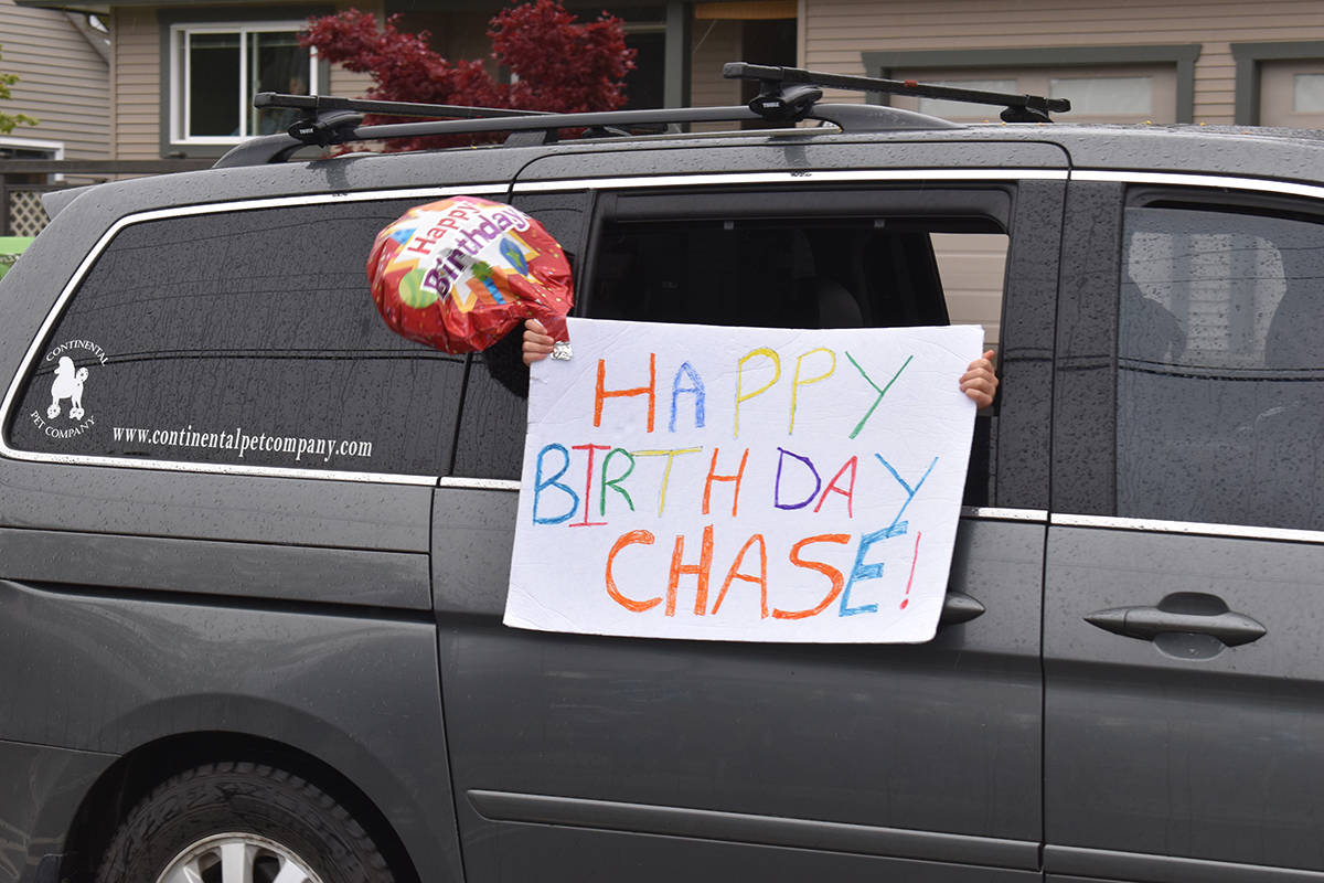 Comox youngster Chase Petersen had a birthday party for the ages on April 28. Photo by Terry Farrell