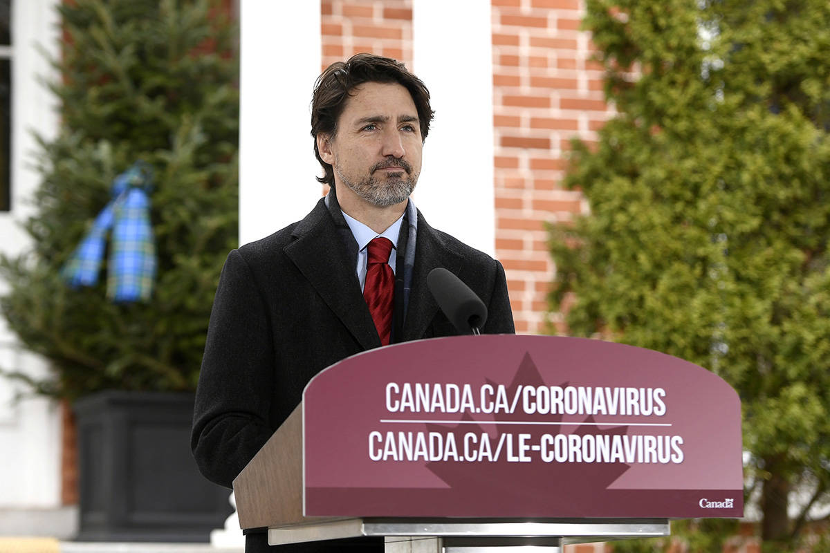 Prime Minister Justin Trudeau speaks during his daily press conference on the COVID-19 pandemic, outside his residence at Rideau Cottage in Ottawa, on Friday, April 24, 2020. THE CANADIAN PRESS/Justin Tang