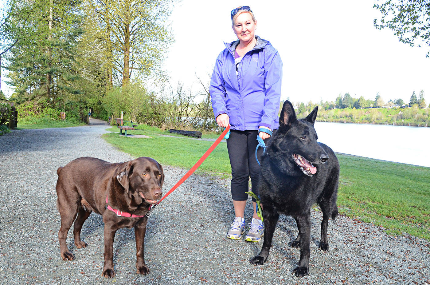 Sandra Benz with Osita, left, and Houston completed the annual LAPS Furry Tails race years ago. (Aldergrove Star files)