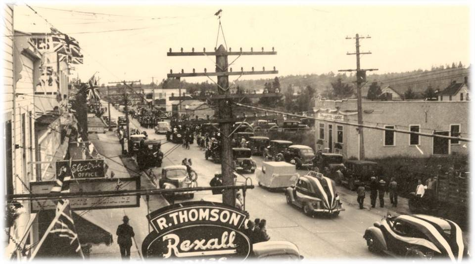Vehicles parade through Cloverdale in 1946. The actual parade is unknown as there were six in Cloverdale that year – May Day, the Rodeo, the Kinsmen's Gymkhana (June 29th), the Fall Fair, August Memorial Service, and the Wild West Show. (Image courtesy of Surrey Historical Society)