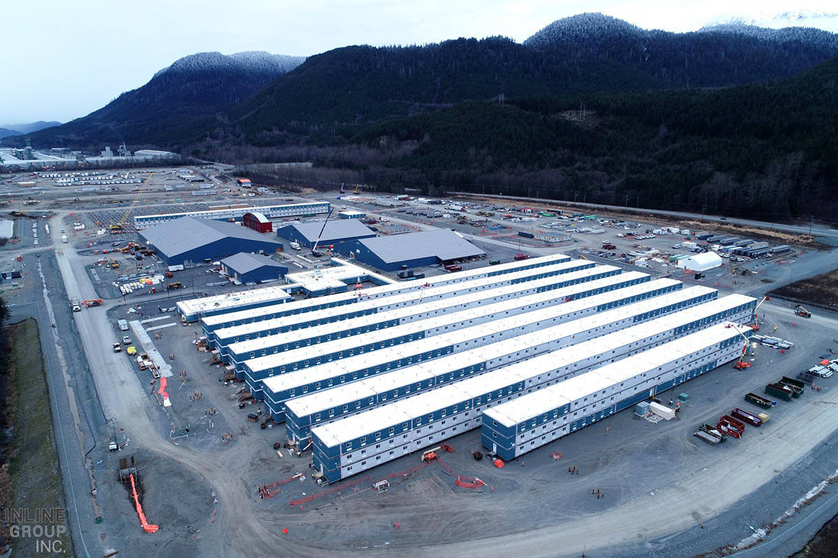 Cedar Valley Lodge, LNG Canada's main camp at Kitimat, nears completion. LNG Canada has reduced its workforce as a result of COVID-19 public health restrictions. (Bird-ATCO)