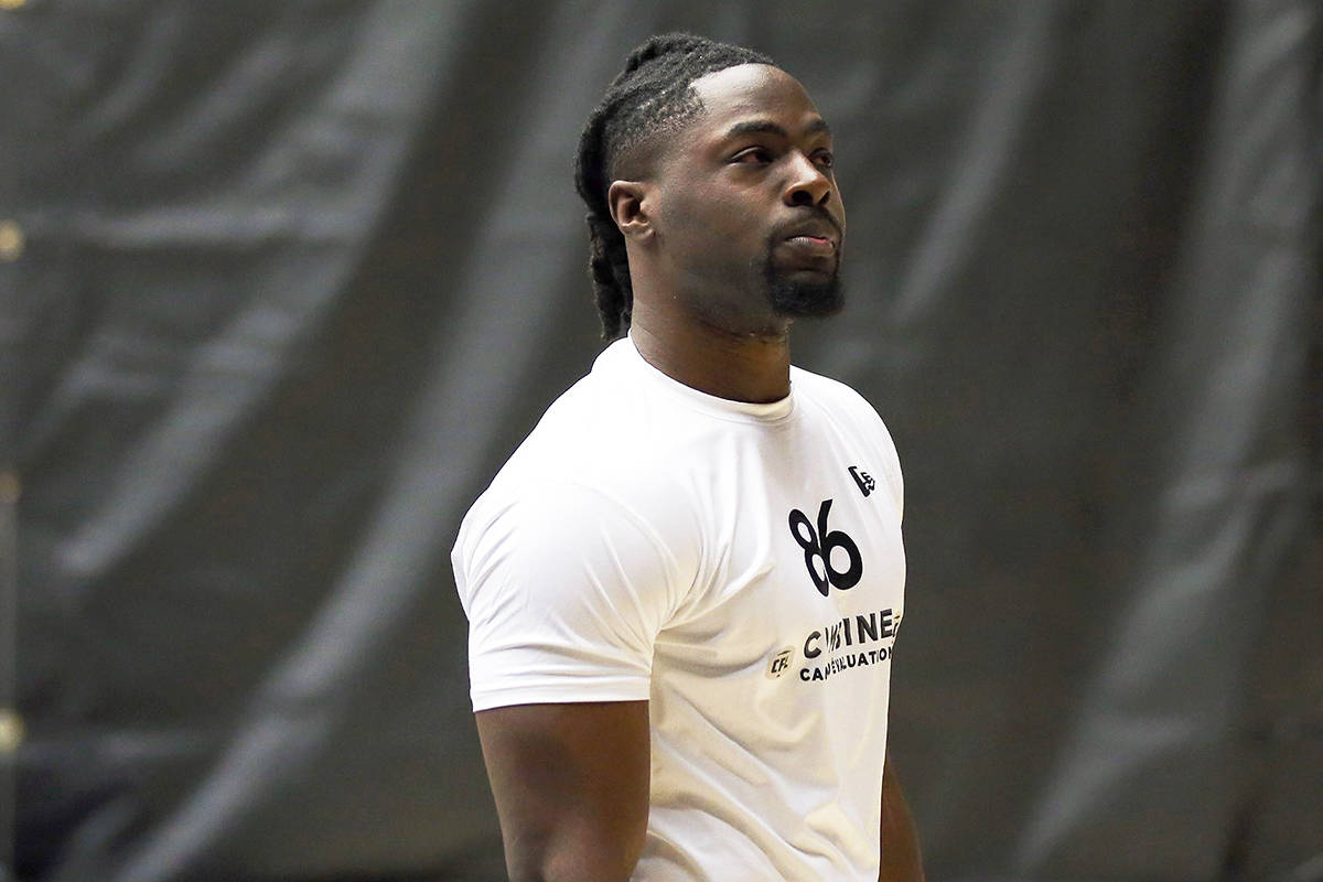 Linebacker Jordan Williams is shown in a handout photo from a CFL combine. He was selected first overall by the B.C. Lions in the CFL's entry draft on Thursday, April 30, 2020. (THE CANADIAN PRESS/HO-Chris Tanouye/CFL MANDATORY CREDIT)