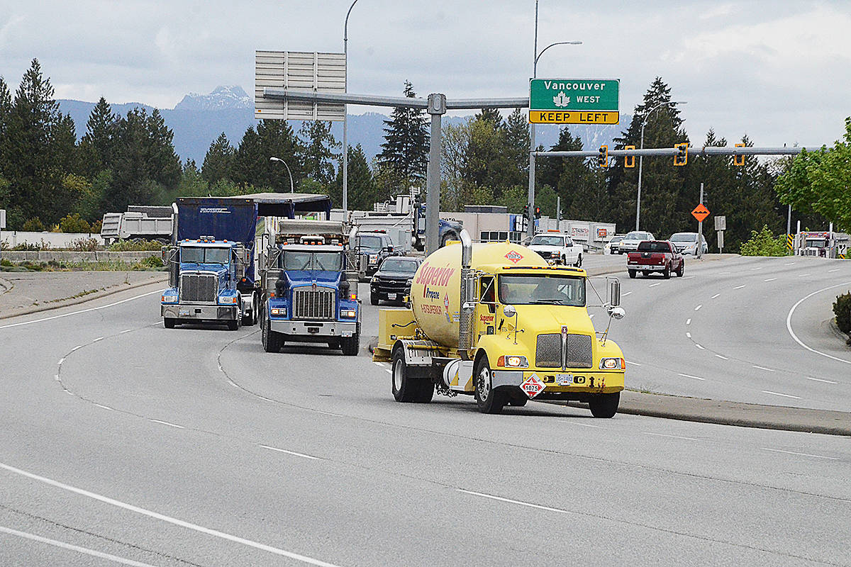Trucks at the 200th Street interchange in Langley. (Matthew Claxton/Langley Advance Times)