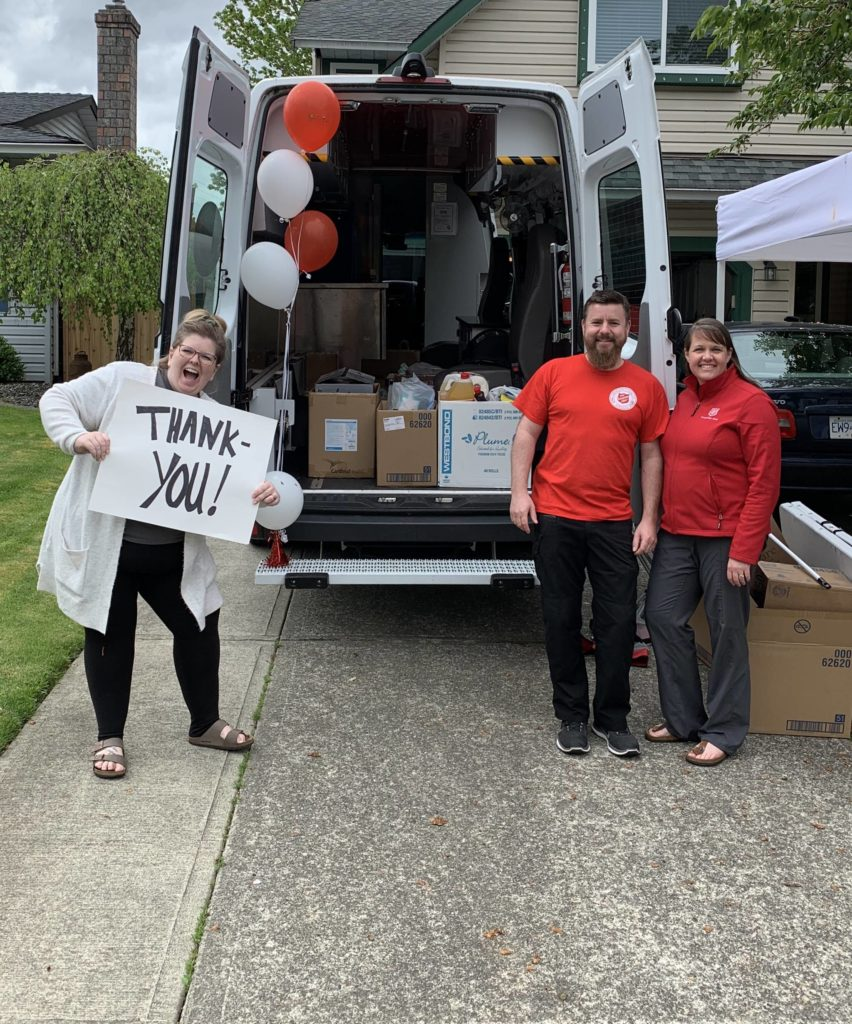 A Salvation Army church – The Willows – hosted a 'drop off and drive on' food bank donation collection in place of its usual Sunday service on April 26, 2020 to help families how have been impacted by the current coronavirus crisis. (Andrea Petkau/Special to Langley Advance Times)