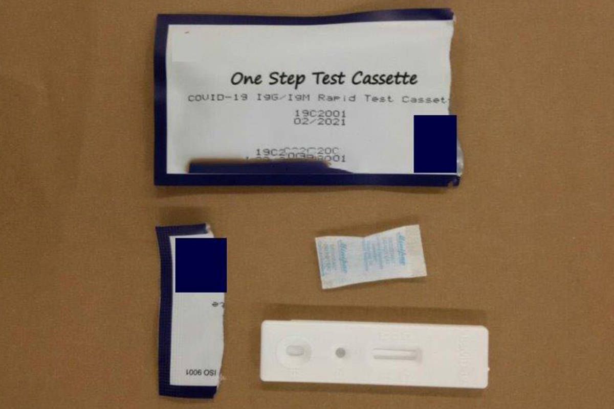 On April 30, 2020, RCMP said officers seized 1,500 fake test kits from a resident in Richmond. It is illegal to sell unauthorized health equipment in Canada. (RCMP handout)