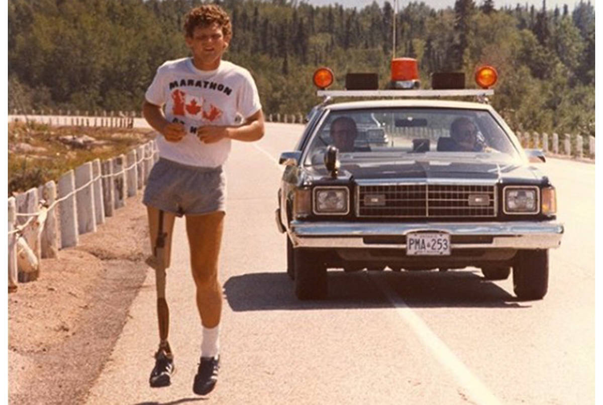Marathon of Hope in 1980: 4,901 kilometre mark in Wawa, Ont. (Terry Fox Foundation photo)