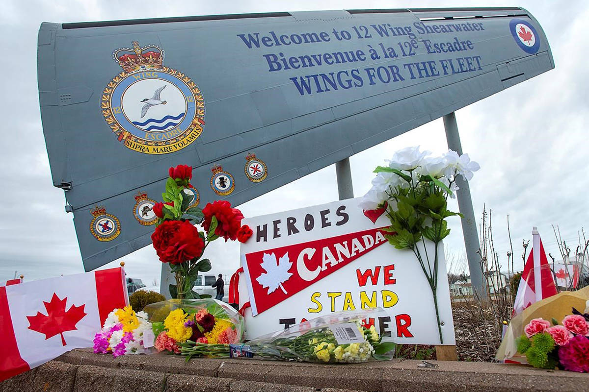 A memorial pays respect to the victims of a military helicopter crash, at 12 Wing Shearwater in Dartmouth, N.S., home of 423 Maritime Helicopter Squadron, on Friday, May 1, 2020. A CH-148 Cyclone helicopter flying from the Halifax-class frigate HMCS Fredericton crashed off the coast of Greece while taking part in a NATO exercise as in the Mediterranean. THE CANADIAN PRESS/Andrew Vaughan