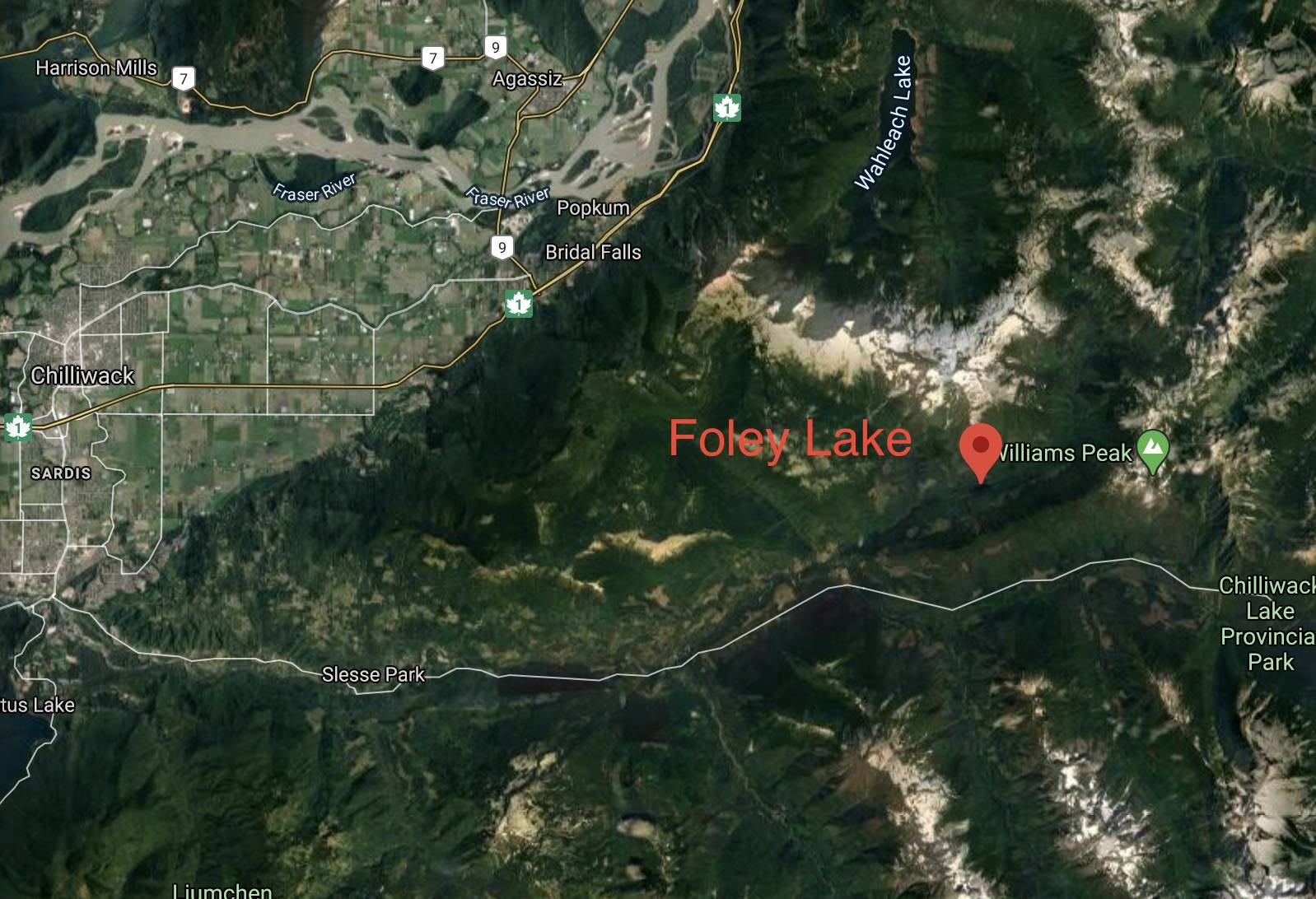 Foley Lake in the Chilliwack River Valley where a side-by-side vehicle carrying five people went into the water on May 3, 2020 killing two children. (GoogleMaps)