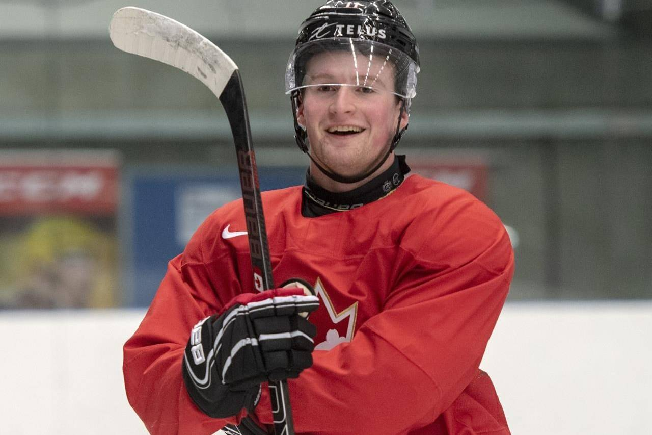 Canada's Alexis Lafreniere smiles during practice at the World Junior Hockey Championships in Ostrava, Czech Republic, Friday, Dec. 27, 2019. THE CANADIAN PRESS/Ryan Remiorz