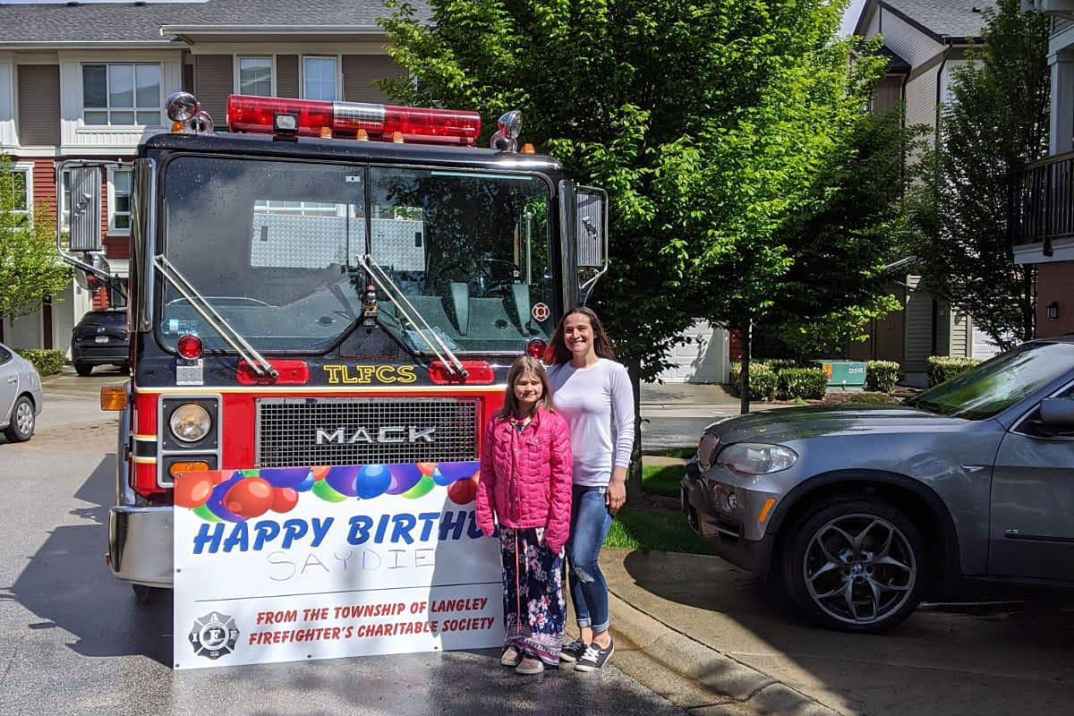Birthday wishes were delivered around the community by Langley Township firefighters. (Langley Township Firefighters Charitable Society)