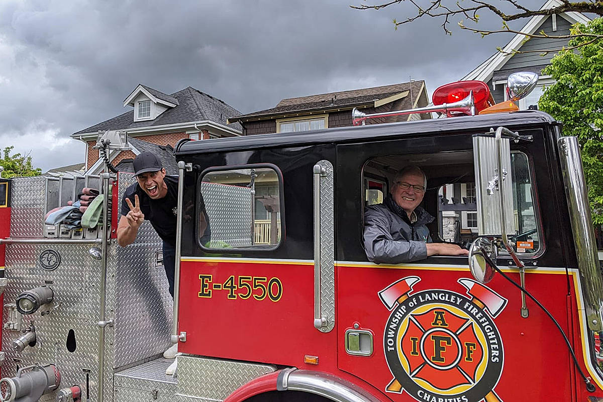 Mayor Jack Froese in Engine 4550. (Langley Township Firefighters Charitable Society)