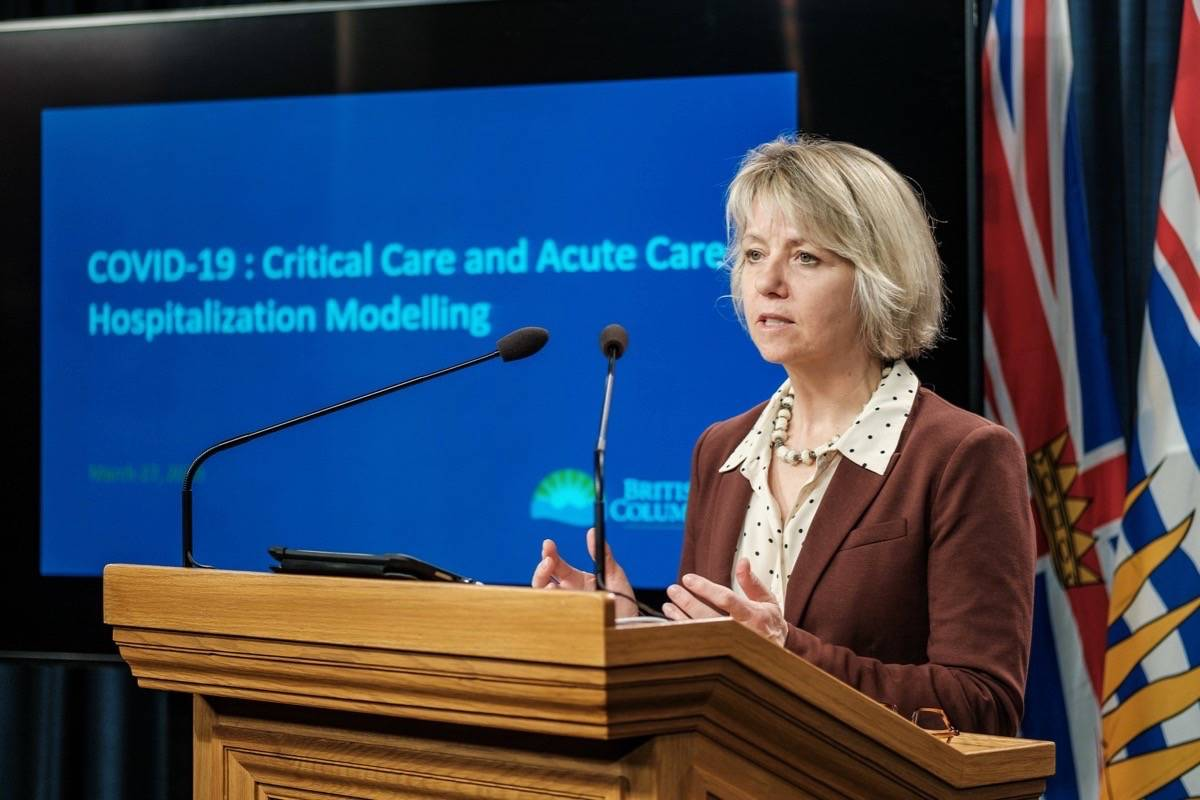 Provincial health officer Dr. Bonnie Henry presents B.C.'s first COVID-19 model for hospital preparation, March 27, 2020. (B.C. government)