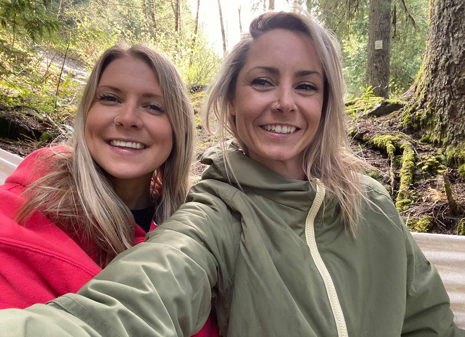 Joy Pringle (in green) and Hannah Reinholt (in red) visted Foley Lake in Chilliwack to reconnect with nature and have a good time camping. They ended the trip helping to prevent an already-tragic situation from becoming far worse. (Submitted photo)