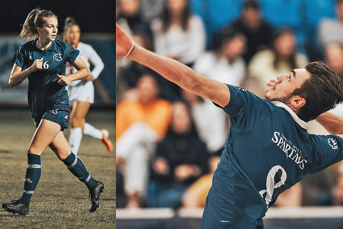 Trinity Western University women's soccer midfielder Jenaya Robertson and volleyball left side Eric Loeppky have been named male and female finalists for the Canada West 2019-20 Athlete of the Year awards. (File)