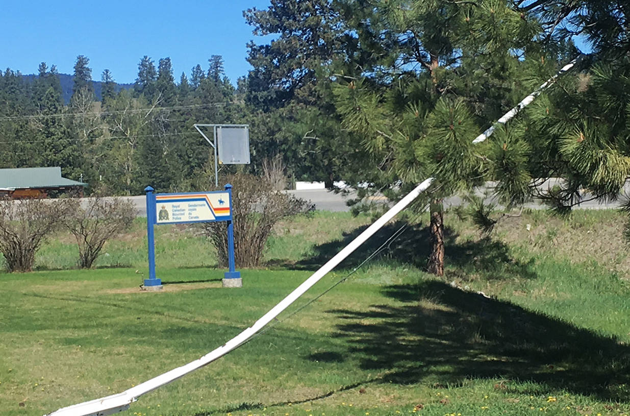 The flagpole which hoisted the Maple Leaf at the Princeton RCMP detachment was destroyed May 1 by a vehicle. Photo Andrea DeMeer