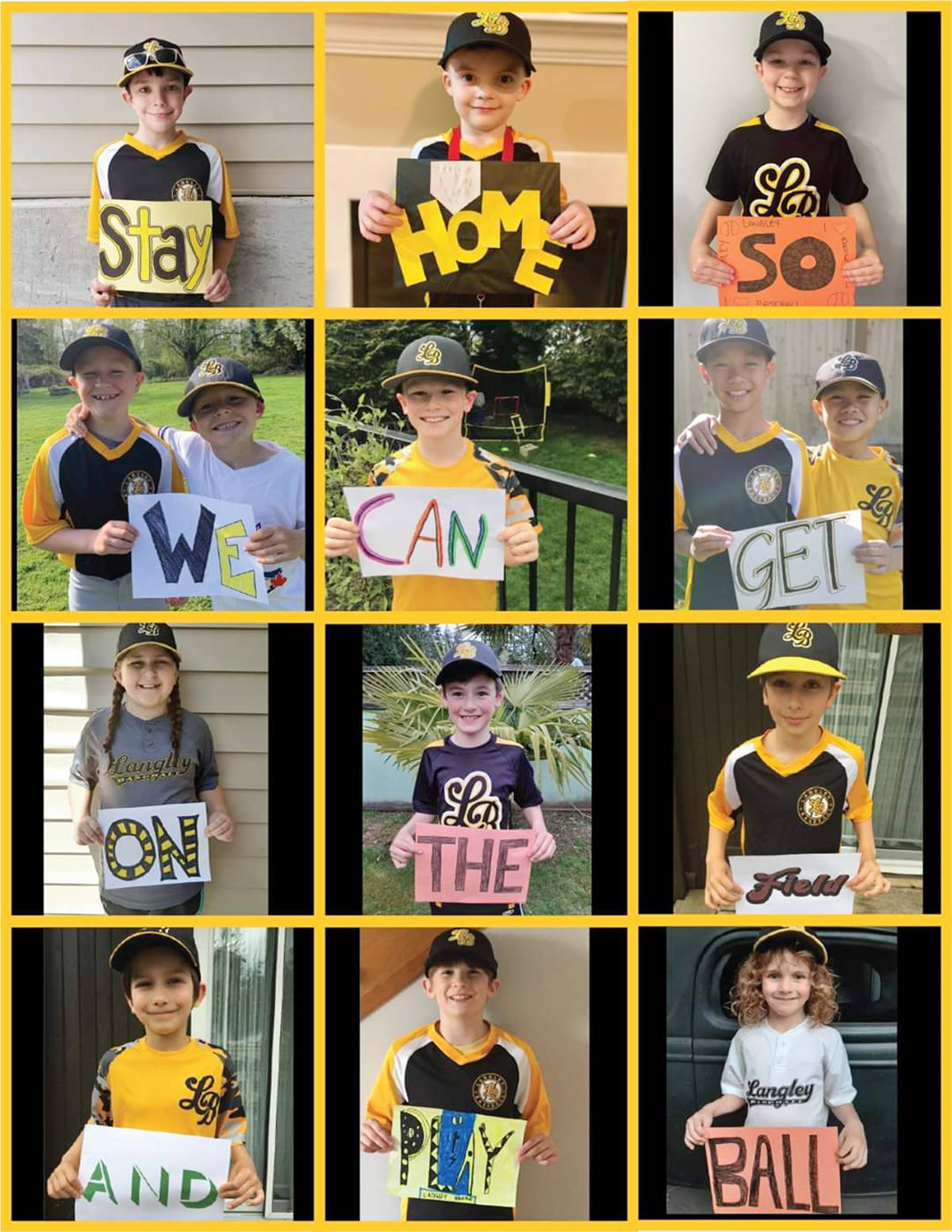 Langley Little League players presented a COVID-safety message.(Courtesy Ian and Jennifer McEachern)