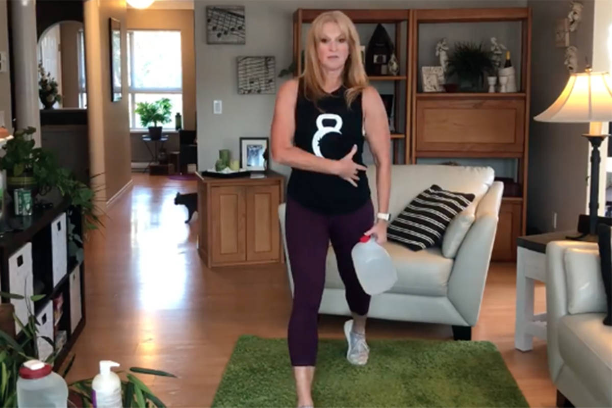 Marion Brand, owner of Brand Fitness in Langley, focuses on working out legs in this week's edition of Workout Wednesday hosted by Langley Advance Times. (Brand Fitness video screen shot)