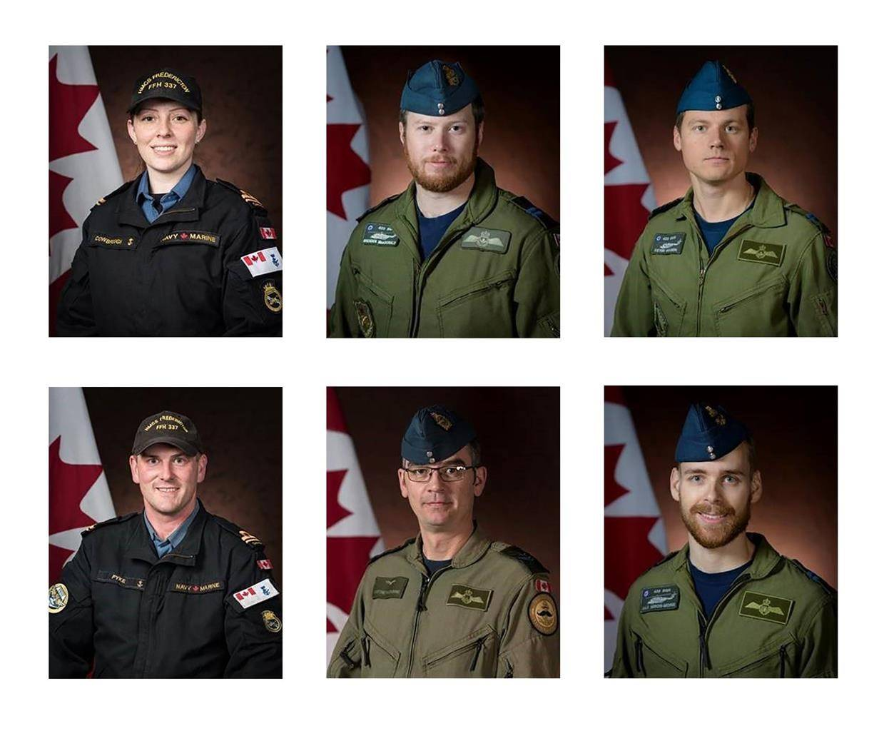 Canadian Armed Forces members (clockwise from top left) Sub-Lt. Abbigail Cowbrough, Capt. Brenden MacDonald, Capt. Kevin Hagen, Capt. Maxime Miron-Morin, Master Cpl. Matthew Cousins and Sub-Lt. Matthew Pyke are shown in a Department of National Defence handout photos. All were aboard a Cyclone helicopter which crashed into the Ionian Sea off the coast of Greece on April 29. THE CANADIAN PRESS/HO-Department of National Defence MANDATORY CREDIT