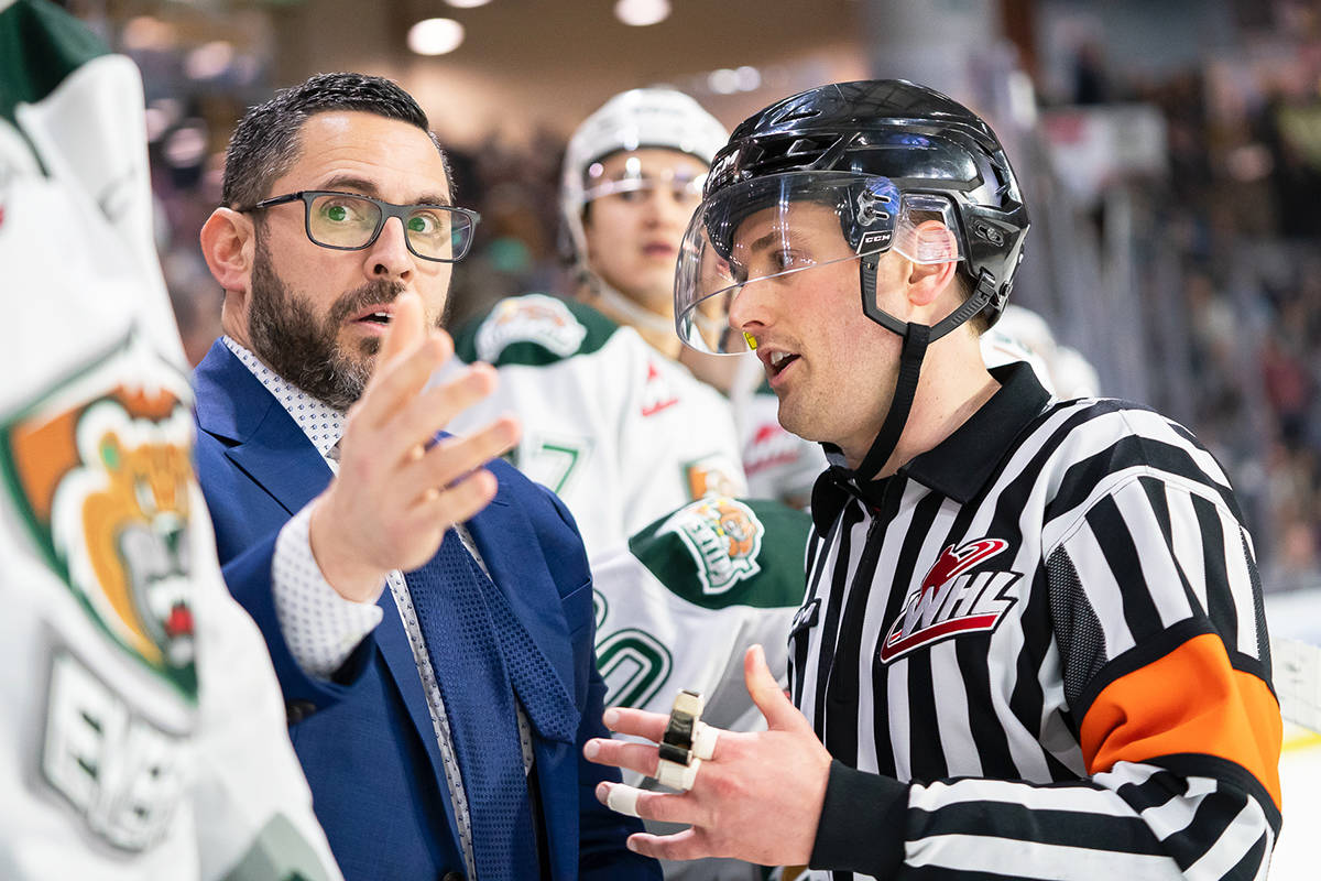 Langley referee Jeff Ingram never takes it personally when he takes heat over a call. Ingram has been named WHL referee of the year. (Chris Mast/Everett Silvertips)