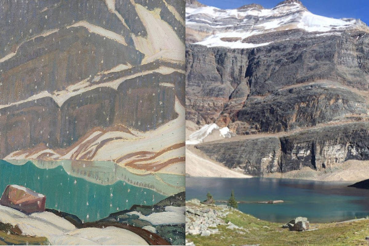 "The painting ""Mountain Solitude (Lake Oesa)"" (left) was inspired by Lake Oesa, British Columbia (right)."