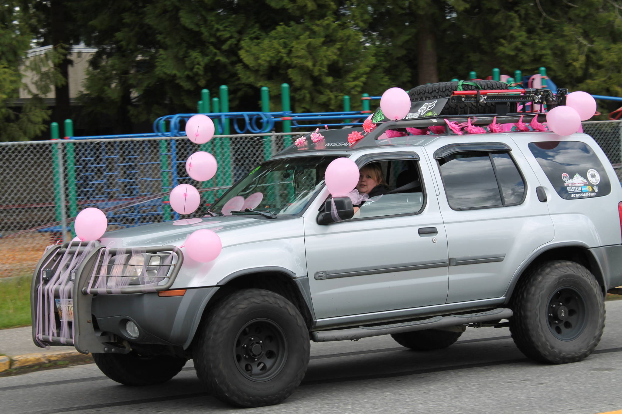 A vehicle was a pink decorations was part of a parade in Langley on May 3, 2020 to celebrate the birth of baby girl. (Anngela Bayer/Special to Langley Advance Times)