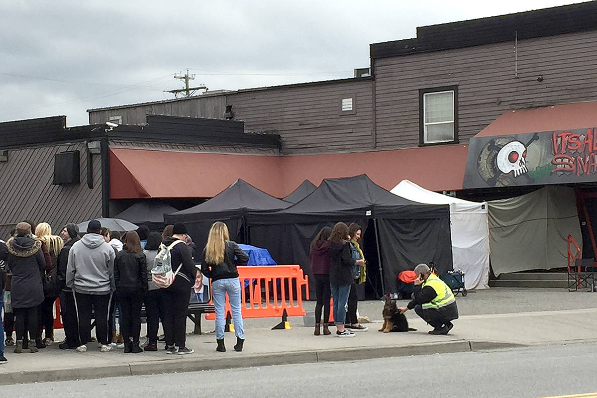 Filming in 2018 of the teen soap Riverdale on Langley's Fraser Highway. Film production has been shut down due to the pandemic, but might return in early summer. (Langley Advance Times files)
