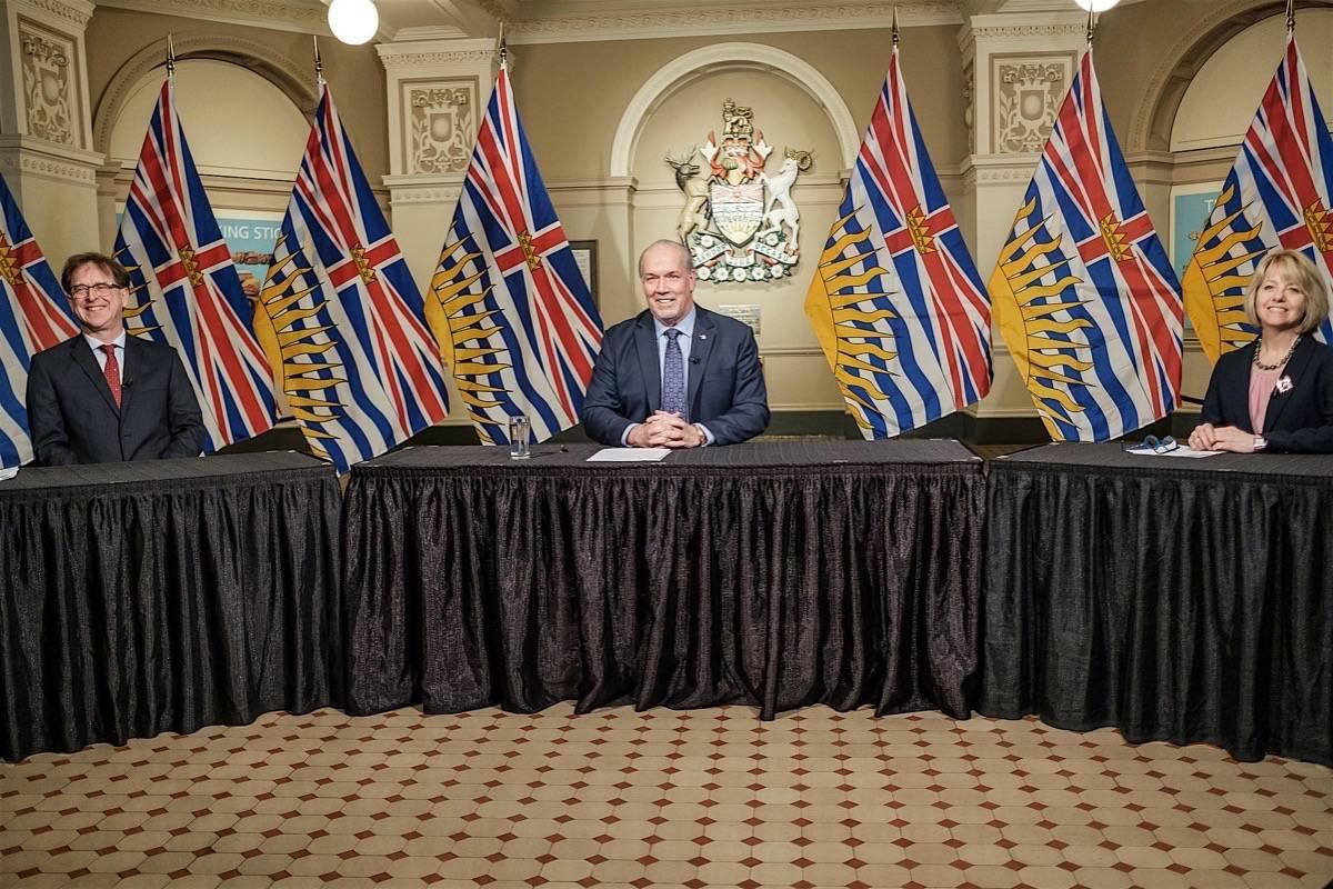 "B.C. Health Minister Adrian Dix, Premier John Horgan and provincial health officer Dr. Bonnie Henry announce ""restart B.C."" program at the B.C. legislature, May 6, 2020. (B.C. government)"