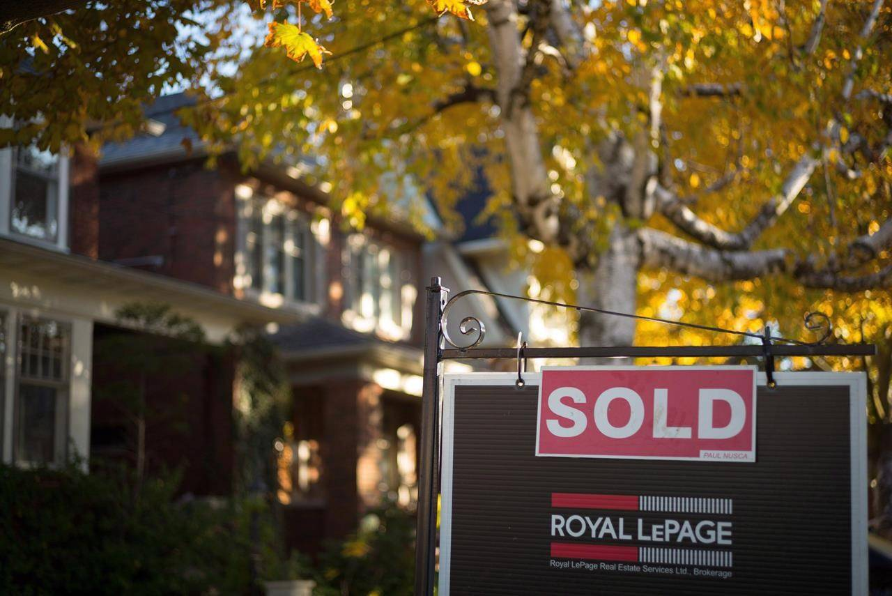 A real estate sold sign hangs in front of a west-end Toronto property Friday, Nov. 4, 2016. THE CANADIAN PRESS/Graeme Roy
