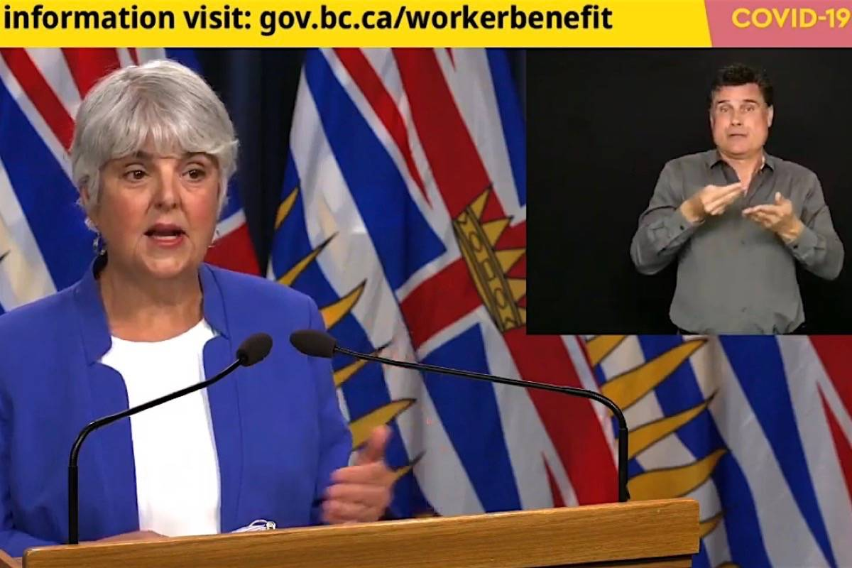 B.C. Finance Minister Carole James explains eligibility for the province's one-time $1,000 worker relief payment in a TV broadcast from the B.C. legislature, May 1, 2020. (Hansard TV)