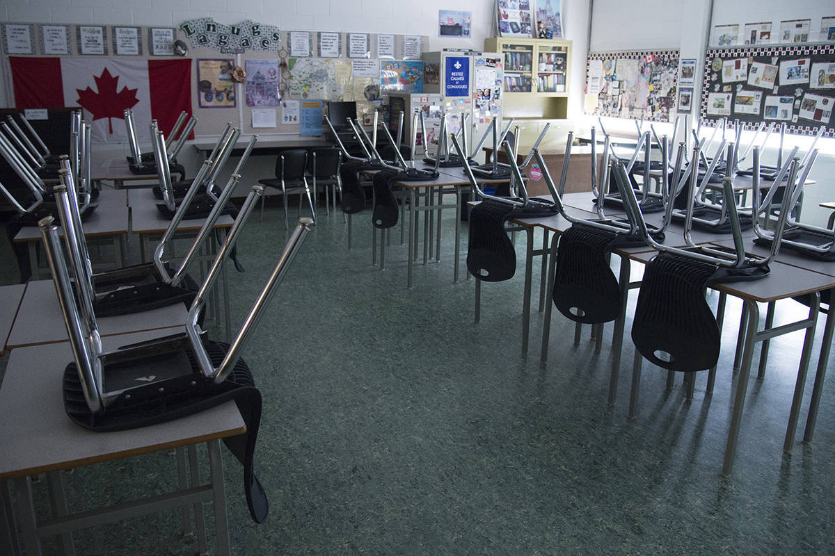 A empty classroom is pictured at Eric Hamber Secondary school in Vancouver. (Jonathan Hayward/Special to the Langley Advance Times)