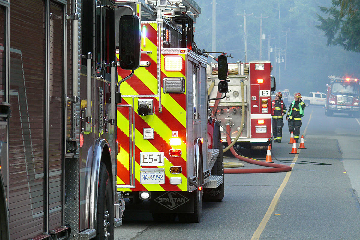 Firefighters battled a residential structure fire on 32nd Avenue near 204th Street on Sunday afternoon, May 10th, around 5:30 p.m. (Dan Ferguson/Langley Advance Times)