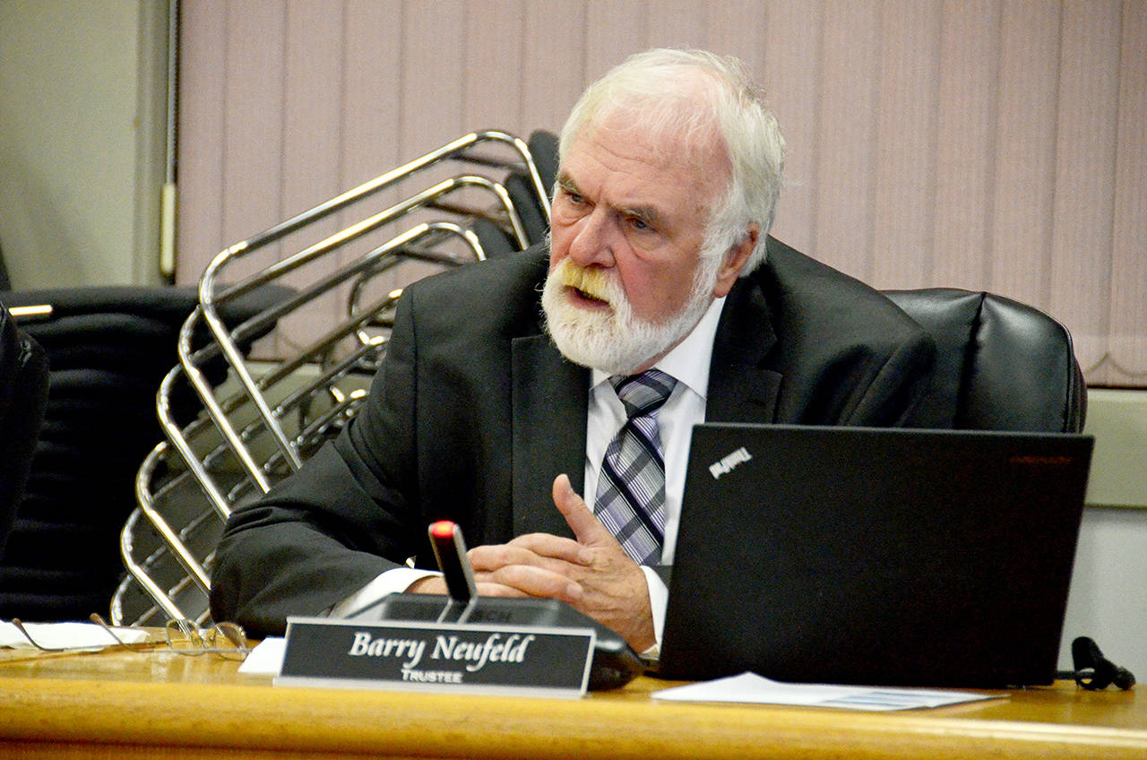 Chilliwack school board trustee Barry Neufeld at the previous board's last meeting before the Oct. 20, 2018 election. (Paul Henderson/ Progress file)