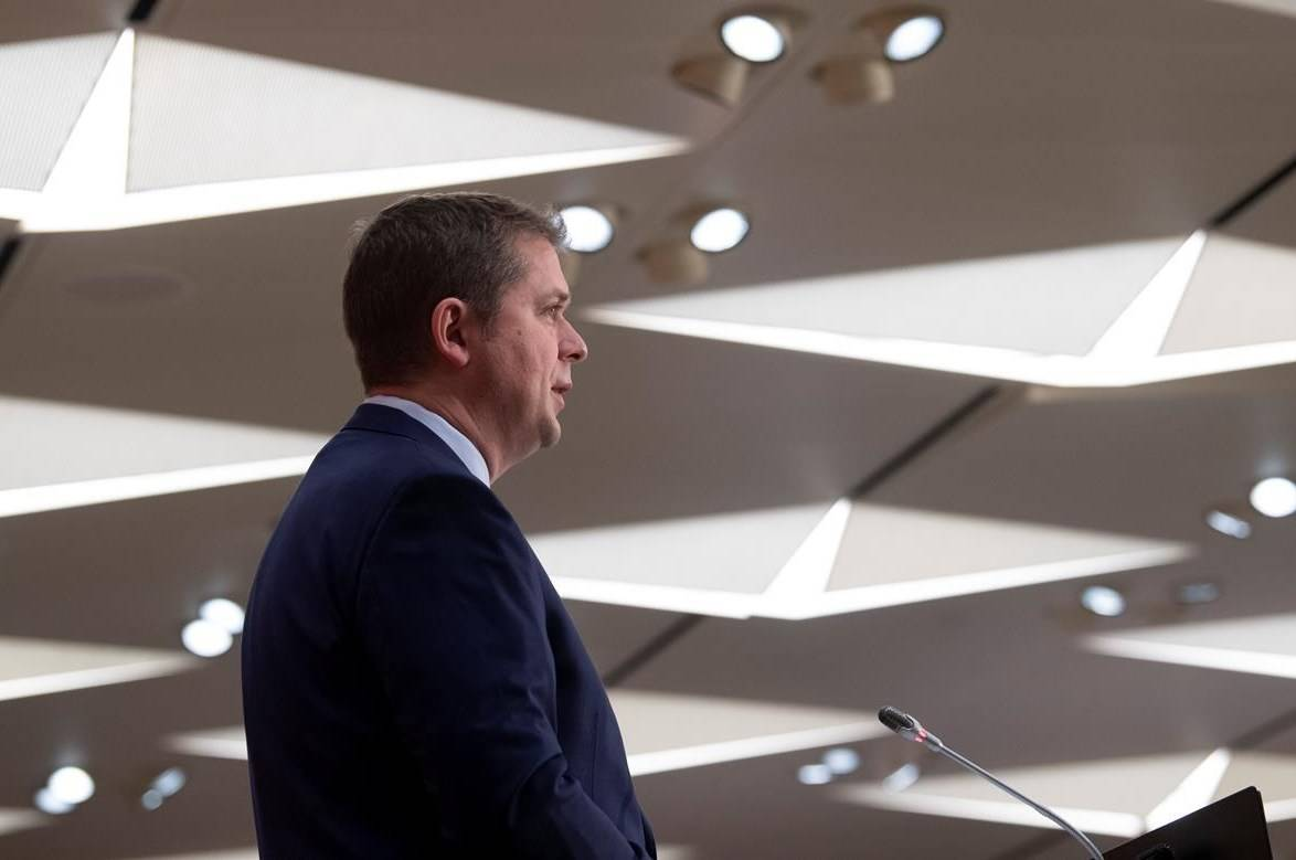Leader of the Opposition Andrew Scheer speaks during a news conference on Parliament Hill, Monday, May 11, 2020 in Ottawa. THE CANADIAN PRESS/Adrian Wyld