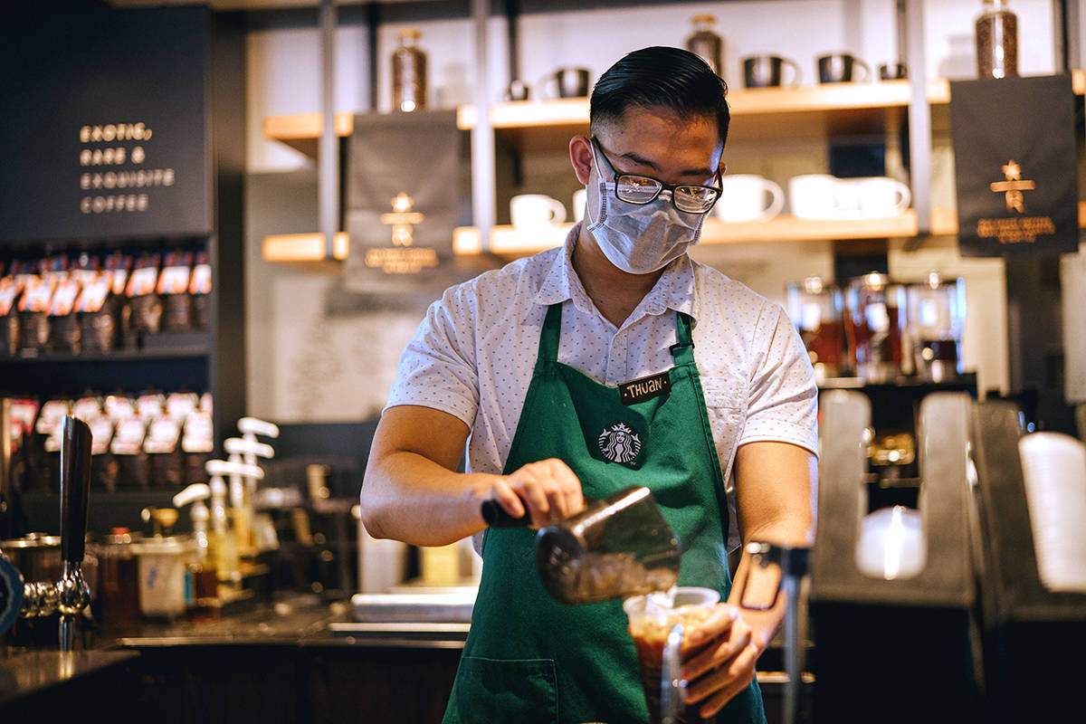 Starbucks staff in Canada will wear masks once the company reopens the majority of its store in May. (Starbucks Canada)