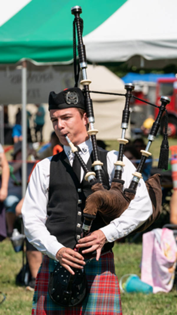 Langley bagpiper shows off his skills in online competition